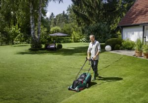 Bosch Rotak 43 Electric Rotary Lawn Mower - Mowing