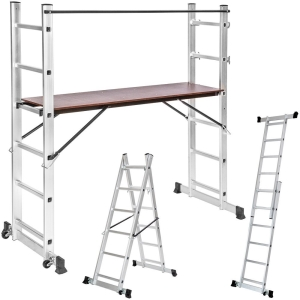 TecTake 3 Way Combination Ladder With Platform
