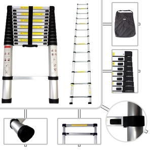 SOTECH 3.8m Telescopic Aluminium Ladder