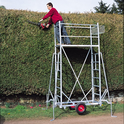 Trimming High Hedge with Platform