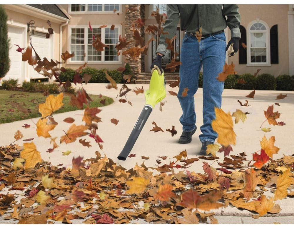Ryobi OBL1820S 18V ONE+ Cordless Blower - Blowing Leaves