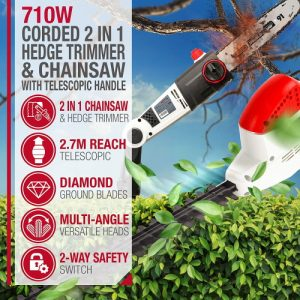 Netta 2 in 1 Long reach hedge trimmer and chainsaw